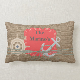 NAUTICAL BURLAP LOOK Anchor Custom Pillow Gift