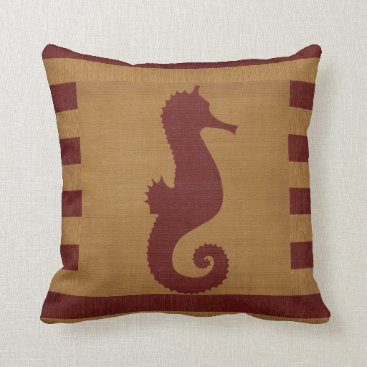 Beach Themed Nautical Burlap Red & Tan Stripes with Seahorse Throw Pillow