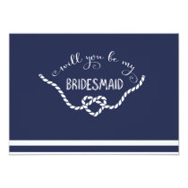 Nautical Calligraphy Will You Be My Bridesmaid Invitation