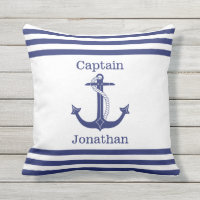 Nautical Captain Blue Anchor Add Name Outdoor Pillow