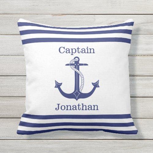 Nautical Captain Blue Anchor Add Name Outdoor Pillow