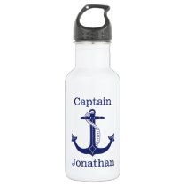 Nautical Captain Blue Anchor Add Name Stainless Steel Water Bottle