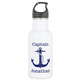 Nautical Captain Blue Anchor Add Name Water Bottle
