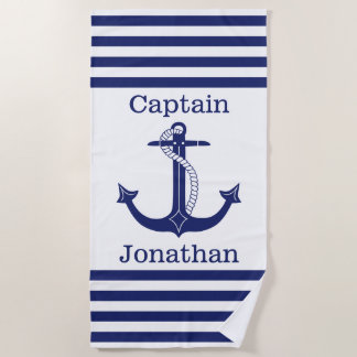 Nautical Captain Blue Anchor Personalized Beach Towel