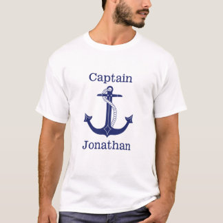 Nautical Captain Blue Anchor Personalized T-Shirt
