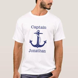 Nautical Captain Blue Anchor Personalized T-Shirt