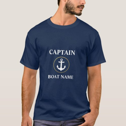Nautical Captain Boat Name Anchor Blue and Gold T_Shirt