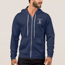Nautical Captain Boat Name Anchor Blue Hoodie