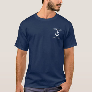 Nautical Captain Boat Name Anchor Blue T-Shirt M
