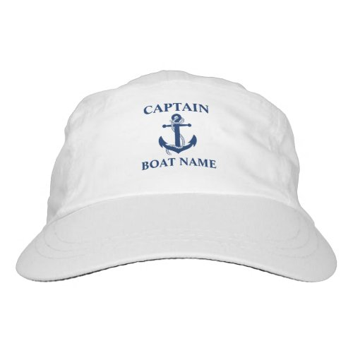 Nautical Captain Boat Name Anchor Rope Hat