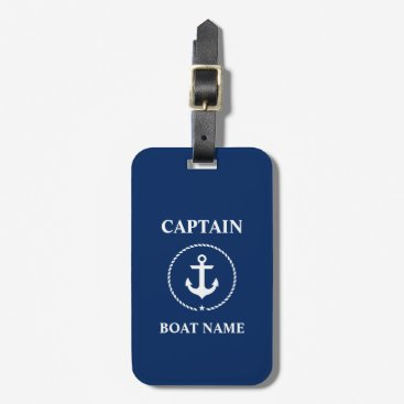 Nautical Captain Boat Name Anchor Rope Navy Blue Luggage Tag