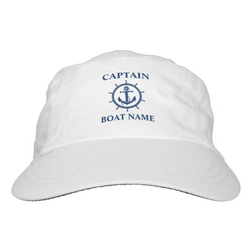 Nautical Captain Boat Name Anchor Rope Wheel Hat
