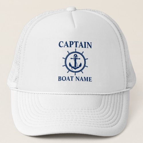 Nautical Captain Boat Name Anchor Rope Wheel Trucker Hat
