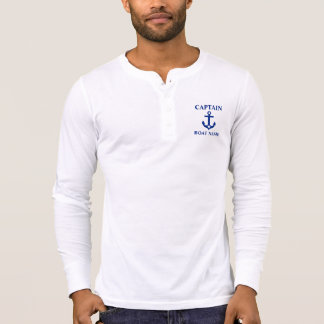 Nautical Captain Boat Name Anchor Star Henley T-Shirt