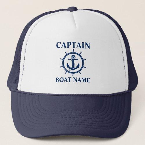 Nautical Captain Boat Name Anchor Wheel Blue Trucker Hat
