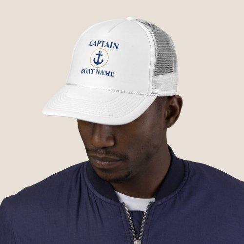Nautical Captain Boat Name White Blue Gold Trucker Hat