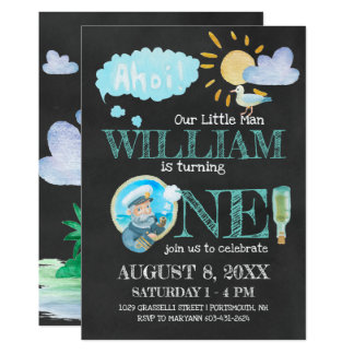 Nautical Captain First Birthday Party Invitation