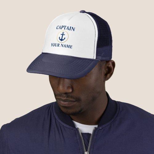 Nautical Captain Name Blue White Gold Trucker Hat