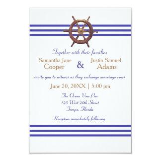 Nautical Captain's Wheel - 3x5 Wedding Invitation