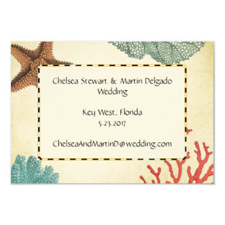Nautical Caribbean Starfish Rustic Map and Coral 3.5x5 Paper Invitation Card