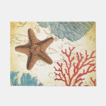Nautical Caribbean Starfish Rustic Map and Coral Doormat