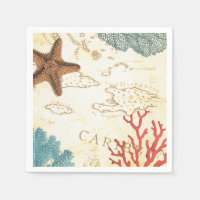 Nautical Caribbean Starfish Rustic Map and Coral Paper Napkin