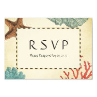 Nautical Caribbean Starfish Rustic Map Coral RSVP Card