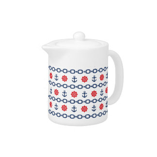 Nautical Chain in Red, White, & Blue Teapot