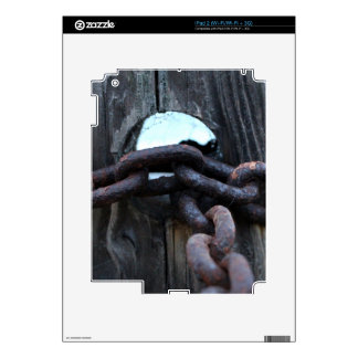 Nautical Chain - rusty chain around fence post Decal For The iPad 2
