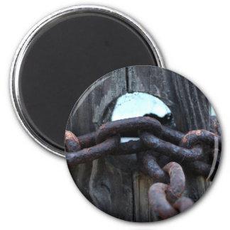 Nautical Chain - rusty chain around fence post Magnet