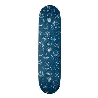 Nautical Chalk Drawing Pattern 2 Skateboard