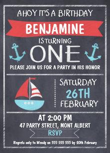 nautical 1st birthday invitations zazzle