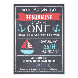 Nautical Chalkboard 1st Birthday Invitation