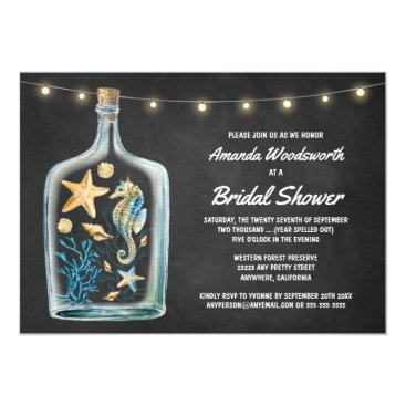 Beach Themed Nautical Chalkboard Bridal Shower Invitations
