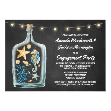 Beach Themed Nautical Chalkboard Engagement Party Invitations