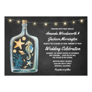 Beach Themed Nautical Chalkboard Starfish Wedding Invitations