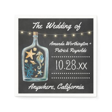 Beach Themed Nautical Chalkboard Starfish Wedding Napkins
