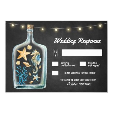 Beach Themed Nautical Chalkboard Starfish Wedding RSVP Cards
