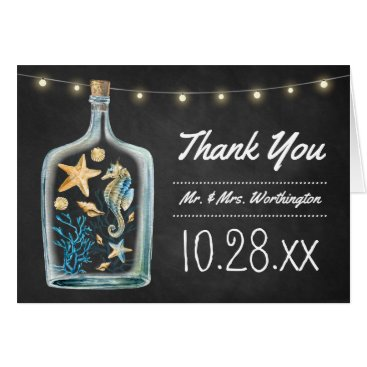 Beach Themed Nautical Chalkboard Wedding Thank You Cards