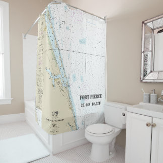 Nautical Chart Fort Pierce FL Longitude Latitude Shower Curtain
