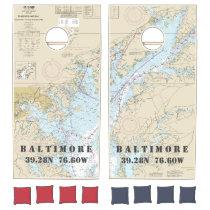Nautical Chart Latitude Longitude: Baltimore MD Cornhole Set
