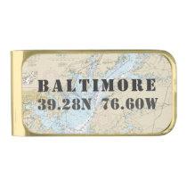 Nautical Chart Latitude Longitude: Baltimore MD Gold Finish Money Clip