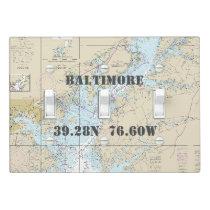 Nautical Chart Latitude Longitude Baltimore MD Light Switch Cover