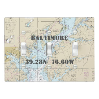 Nautical Chart Latitude Longitude Baltimore MD Light Switch Cover