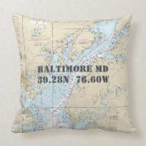 Nautical Chart Latitude Longitude Baltimore MD Throw Pillow