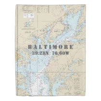 Nautical Chart Latitude Longitude: Baltimore TWIN Duvet Cover