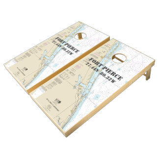 Nautical Chart Latitude Longitude: Fort Pierce, FL Cornhole Set