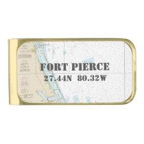 Nautical Chart Latitude Longitude: Fort Pierce, FL Gold Finish Money Clip