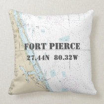 Nautical Chart Latitude Longitude: Fort Pierce FL Throw Pillow