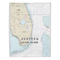 Nautical Chart Latitude Longitude: Jupiter FL TWIN Duvet Cover